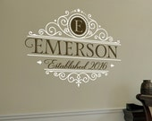 Family Monogram with Date Established - Wall Decal