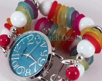 Rainbow Bright.. Rainbow Colored Chunky Interchangeable Beaded Watch Band