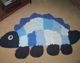 Blue Dinosaur Rag Quilt