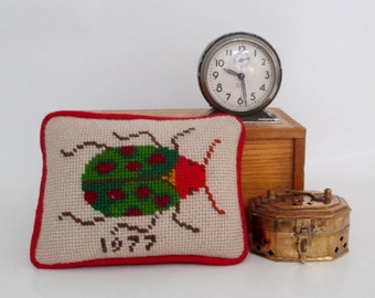 Needlepoint Beetle Insect Small Pillow Finished in Kelly Green and Red 1977