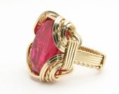 Handmade 14kt Gold Filled Wire Wrap Man Made Ruby Ring