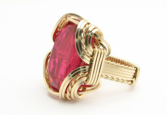 Wire wrapped Ring Statement Ring Handmade 14kt Gold Filled Wire Wrap Man Made Red Ruby Gemstone Ring