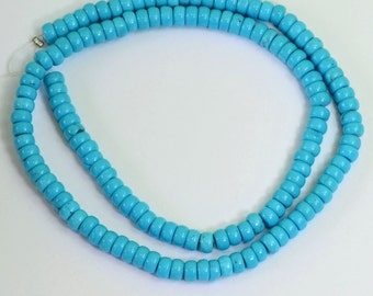 IGI certified 5.2MM Sleeping Beauty Turquoise Wheel Rondelles 15.8 inch strand