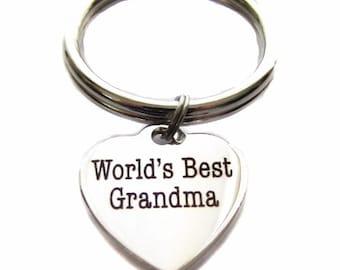 "Stainless Steel ""World's Best Grandma"" Heart Charm, Keychain, Key Chain, Key Ring, Bag Charm, Zipper Pull, Grandmother Gift"