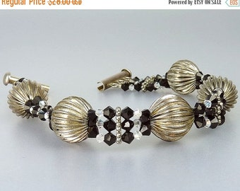 Vintage Sterling Silver Glass Bead Bracelet