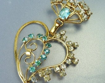 Vintage Gold Filled Heart  & Crown Brooch Pendant Blue Rhinestone Brooch