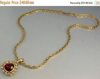 Vintage Signed Swarovski Ruby Red Pendant Necklace