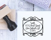 Address Stamp - Wrought Iron Scrollwork, Custom Wedding Stamp, Housewarming Gift, Wooden Stamp, Self Inking, Rubber Stamp