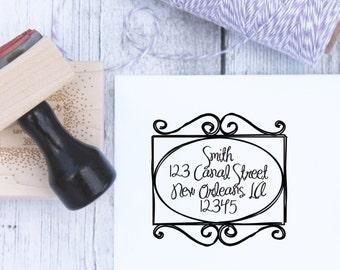 Address Stamp - Wrought Iron Scrollwork, Custom Wedding Stamp, Housewarming Gift, Wooden Stamp, Self Inking, Rubber Stamp