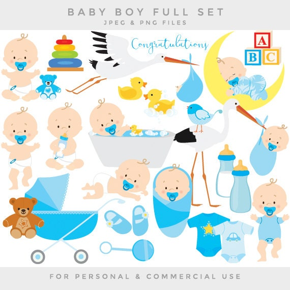 Baby Clipart Baby Clip Art Baby Boy Baby Shower Pregnancy Birth Stork Blue  Bath Rubber Duck Toys Baby Bottle One Piece Commercial Use