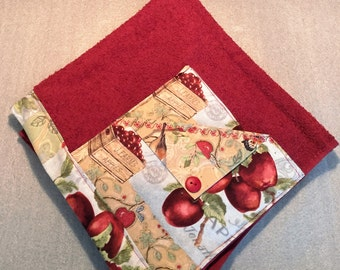 APPLES and BIRDS RACHAEL Ray Inspired Pot Holder Towel for kitchen, cooking, baking