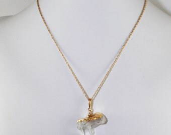Clear Cluster Quartz Crystal Pendant Crystal Necklace Cluster Crystal Quartz Pendant Raw Stone Necklace Gold Top CQtz-P-102g