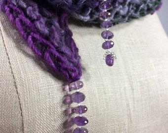 Wearable Fiber Art, Mindful Wrap-Amethyst Beads on a Purple, Gray, Green Wool, Silk, Alpaca, Angora Mindfulness Mantle