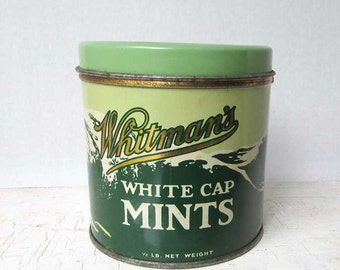 Vintage 1940's Whitman's White Cap Mints  Candy Tin, Jade Greens and White, Snow Capped Mountains Scene, Whitman & Son Philadelphia