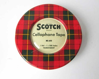 1950's Vintage Scotch Cellophane Tape Lithographed Tartan Red Green Plaid Tin Box, Vintage Office Tin, Small Items Storage, Red Green White