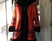 Vintage 70's embroidered Snow Bunny Hooded Eskimo winter jacket Coat SZ S fake fur