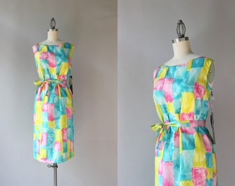 1960s Dress / Vintage 60s Mod Belted Shift Dress / Deadstock Unworn Sixties Painterly Print Dress