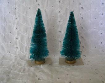 Pair of Vintage Bottle Brush Trees ~ Christmas Holiday Tree