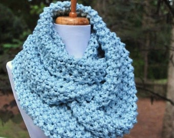 Chunky Knit Infinity Scarf in Mystic Blue, Chunky Scarf, Hand Knit Infinity Scarf, Women Scarves, Knitted Scarf, Winter Scarf, Wool