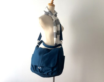 Water Resistant Diaper bag , Canvas Messenger Bag DARK TEAL ,  , Cross body Bag, Travel bag , Tote Bag ( Big SALE - 25% / Daniel )