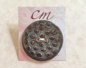 Porcelain Button in Smoky Tones-Brown and Blue Button-Taupe Brown and Slate Blue Gray Button-Handcrafted Porcelain Button-Ceramic Button