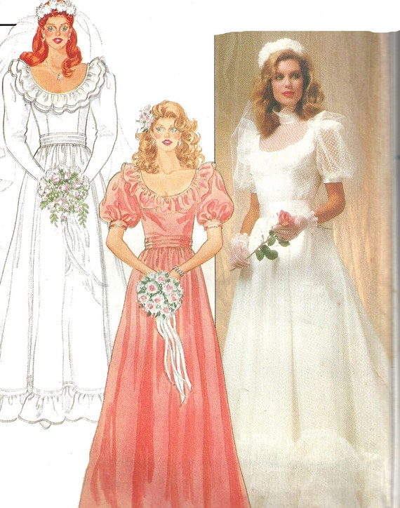 Wedding gown pattern 1980s vintage butterick bridesmaid dress Butterick wedding dress patterns