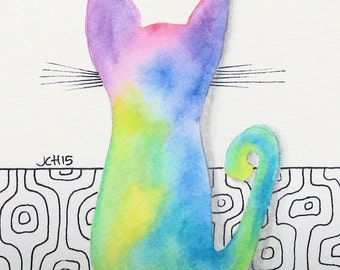 "Tie Dye Cat with Mid Century Mod Design Watercolor and Ink Painting Drawing  5"" x 7""  Wall Art"