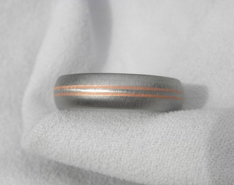Titanium Ring with Copper Inlay Pinstripes, Wedding Band, Frosted Finish