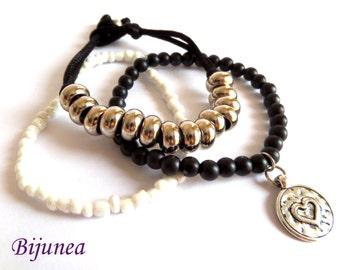 Black heart bracelet - Heart bracelet - Black white bracelet - Valentine love bracelet - Heart bracelet b145