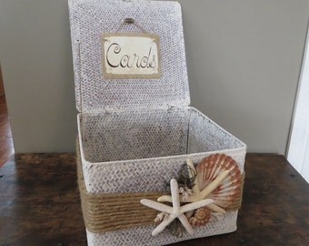 Beach Cottage Wedding Card Basket Holder Large
