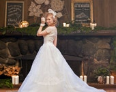 Mint Vintage 1954 Ivory Organdy Wedding Dress-Designer Fink Original-Rare-FREE US shipping