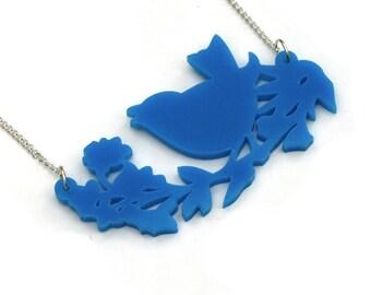 Bird Necklace, Acrylic Bird Pendant Necklace