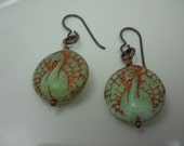 Czech Glass Peacock Bead Earrings Mint Green with Copper Bird of Paradise Round Glass Beads Nature