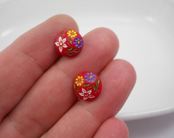 Post Earrings Vintage Red Glass Hand Painted 1950's Era Made in West Germany Post Flowers Springtime Jewelry