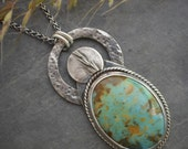 RESERVED FOR ANGELA - Kansas Prairie Grass Necklace, Indiangrass, in Sterling Silver with Kingman Turquoise Gemstone, Pendant Necklace
