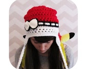 INSTANT DOWNLOAD - The Original pokemon pokeball inspired earflap slouchy beanie hat with bow - PDF crochet pattern