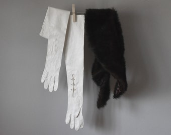 Vintage White Leather Gloves, Arm Length Evening Gloves, Vintage Fashion, Bridal Attire, Evening & Formal Gloves