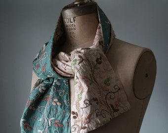 Vintage Embroidered Scarf, Double Sided Embroidered Textile, Scarves & Wraps, Women's Fashion