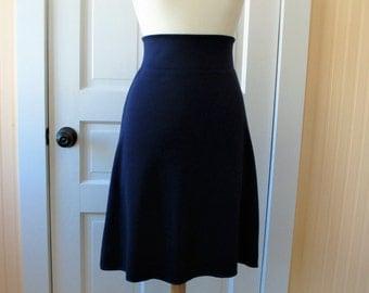 Jersey Knit Skirt - Navy Blue - Size Small