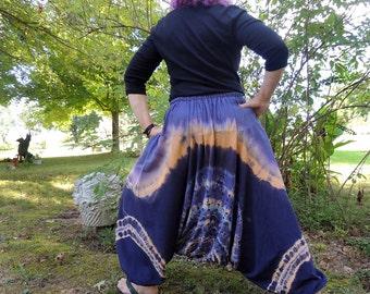 Jacuard Silk Noil Bohemian Harem Pants, Handmade and Dyed with Shibori