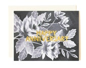 Happy Anniversary Black Floral Illustrated Card//1canoe2