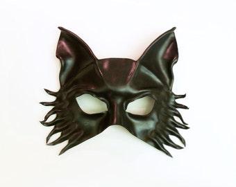 Leather Mask Black Wolf Fox Dog