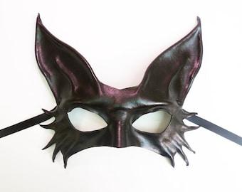 Little Kitty Black Cat Leather Mask costume Halloween masquerade elagant