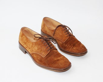 1970's Rust Tan Suede Oxfords Brogues