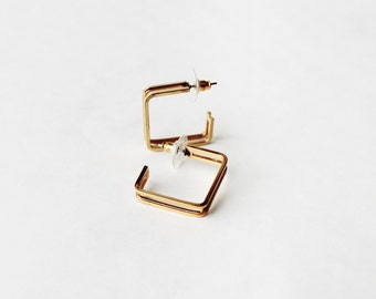 1980's Square Cuffs Stud Earrings