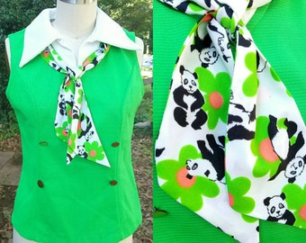 1970s Vintage Lime Green Polo with White Collar Panda Tie Green Button Blouse with Panda Print Bow Tie Sleeveless Polo Size Medium