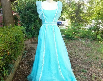 1980s Vintage Mike Benet Turquoise Organza Prom Dress Ruffle Sleeves White Lace Floor Length Formal Bright Blue with Petticoat Size Small