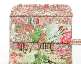 Needle Roll Up for Circular Knitting Needles, Pink Paisley Fabric Holder for Storing and Organizing Crochet Hooks and Double Pointed Needles