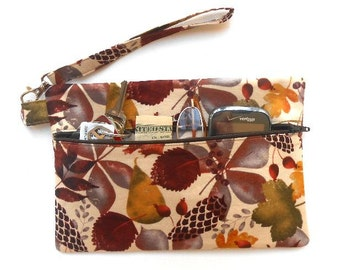 Leaf Print Wristlet, Pear Print Clutch, Maroon Gold Brown Wallet, Phone, Camera or Gadget Bag, Makeup or Cosmetic Case, Zippered Purse