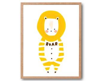 Baby Lion Art Print, Baby Animal Illustration, Raccoon Illustration, Racoon Print, Children's book art, Kids Room Art,  Nursery Decor